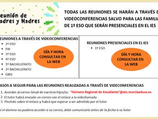 REUNIONES INICIALES CON LAS FAMILIAS - CURSO 2021-2022