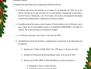 ORGANIZACIÓN FINAL DE TRIMESTRE - DICIEMBRE 2020