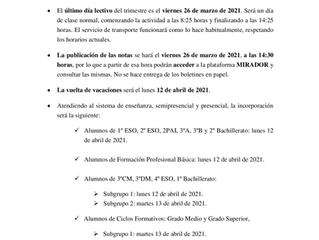 COMUNICADO FINAL DE TRIMESTRE - MARZO 2021