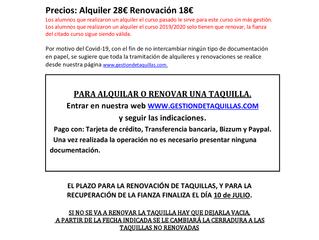 INFORMACIÓN SOBRE TAQUILLAS - CURSO 2021-2022