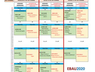 CALENDARIO EXÁMENES EBAU 2020