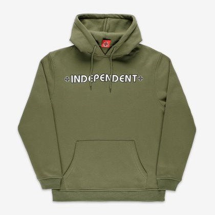 INDEPENDENT BAR:CROSS HOOD -ARMY GREEN.