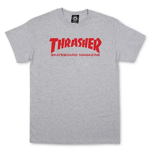 THRASHER TEE GRAY/RED*