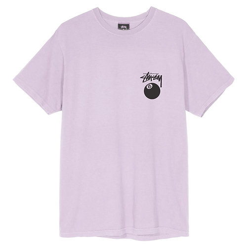 STUSSY 8 BALL PIGMENT DYED T SHIRT - LAVENDER