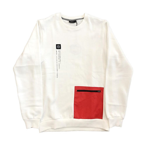 DOLLY NOIRE POCKET CREWNECK - WHITE RED
