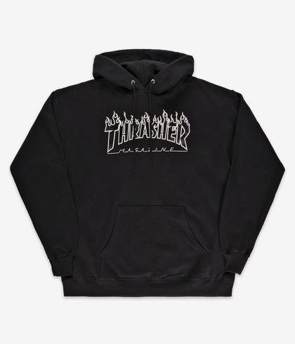 THRASHER FLAME HOOD - BLACK BLACK