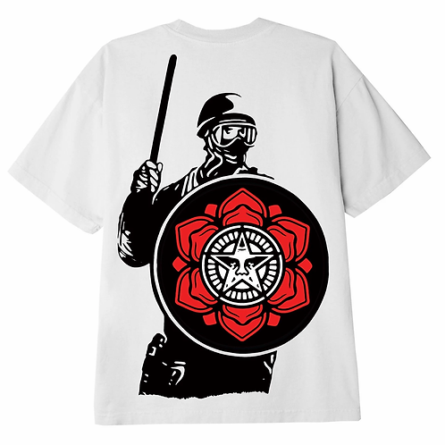 OBEY RIOT COP PEACE SHIELD TEE WHITE