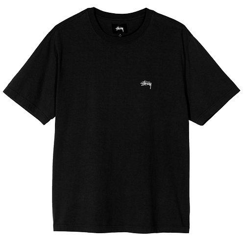 STUSSY STOCK LOGO T-SHIRT - BLACK