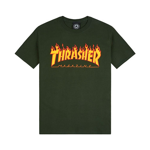 THRASHER FLAME LOGO T SHIRT - GREEN
