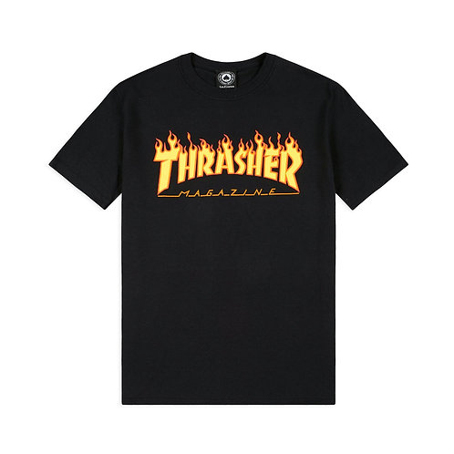 THRASHER FLAME LOGO T SHIRT - BLACK