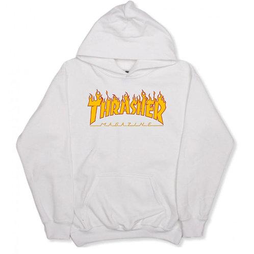 THRASHER FLAME LOGO HOODIE  - GRAY