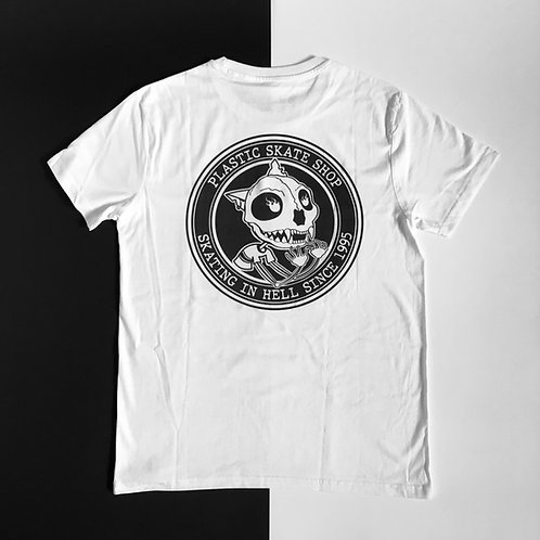 PLASTIC SKATE SHOP TEE WHITE(SKATING IN HELL SINCE 1995)