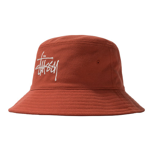 STUSSY BIG LOGO TWILL BUCKET HAT - ORANGE