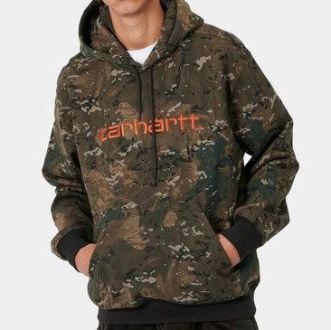 CARHARTT HOODED SCRIPT - CAMO ORANGE