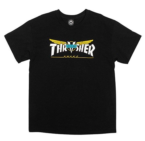 THRASHER VENTURE COLLAB T SHIRT - BLACK