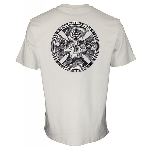 INDEPENDENT FTS SKULL T SHIRT - SILVER
