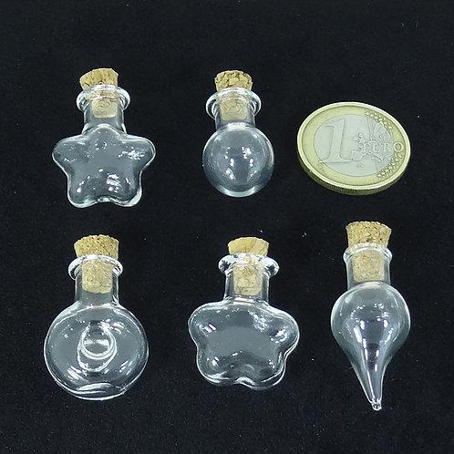 5 Botellas de Cristal Variadas 25-30mm T84X