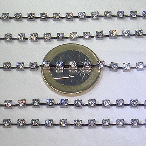 2 Metros Cadena Con Strass 3mm A163