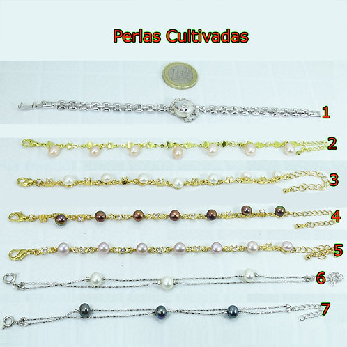 Pulsera Con Perlas De Río y Cristales A Elegir