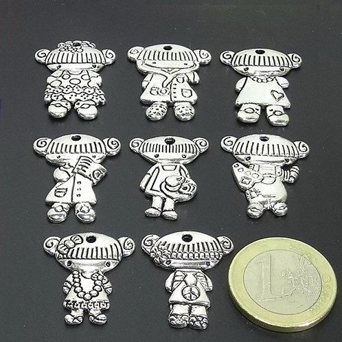 18 Colgantes Muñecas Niños 27mm T611