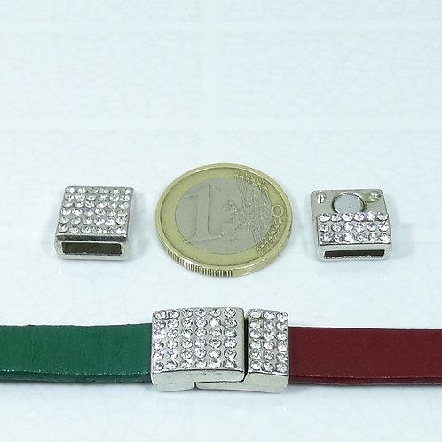 2 Cierres Con Cristales Para Cuero 20x13mm T261C