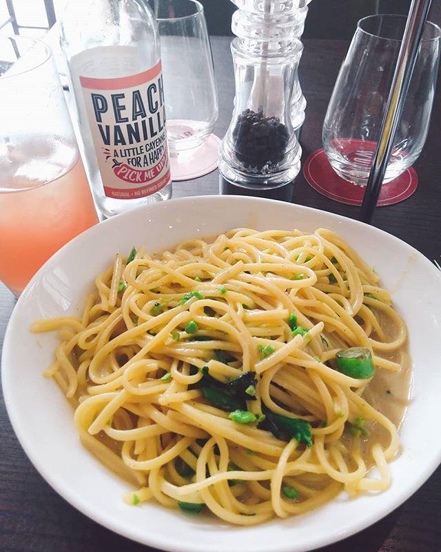 Yummy yummy #vegan creamy linguine and peach vanilla cayenne soda at _wulfandlamb today