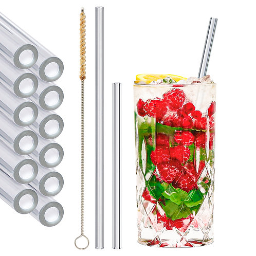 stråwline 12er Set Glas Strohhalme 6x15cm + 6x20cm (gerade) wiederverwendbar