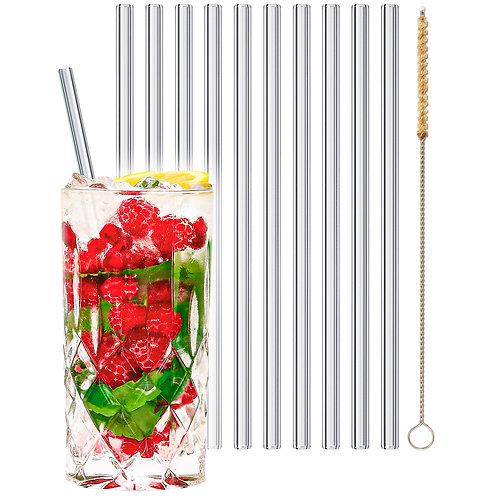 stråwline Glas Strohhalme 10x20cm (gerade) wiederverwendbar