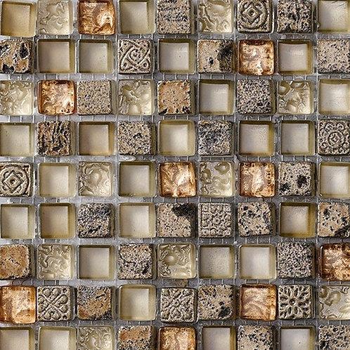 Maya Earth Glass Marble Mix Mosaic 15x15mm on a 300x300mm sheet