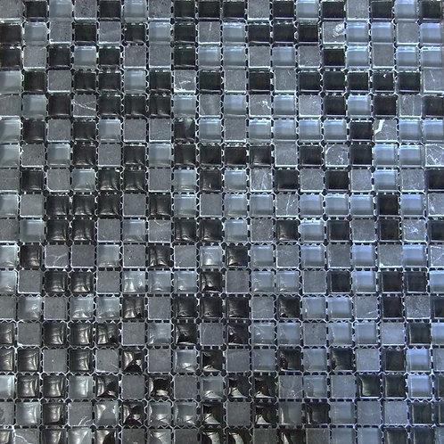 Black Glass Marble Mix Mosaic 15x15mm on a 300x300mm sheet
