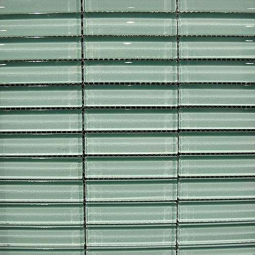 Crystal Green Apple 8mm Glass Mosaic 23x98mm on a 300x300mm sheet