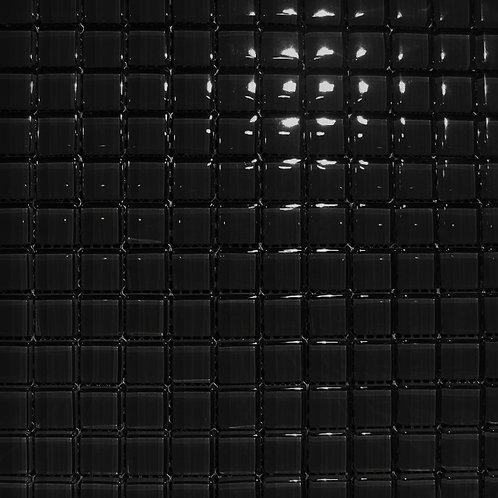 Crystal Black 8mm Glass Mosaic 23x23mm on a 300x300mm sheet