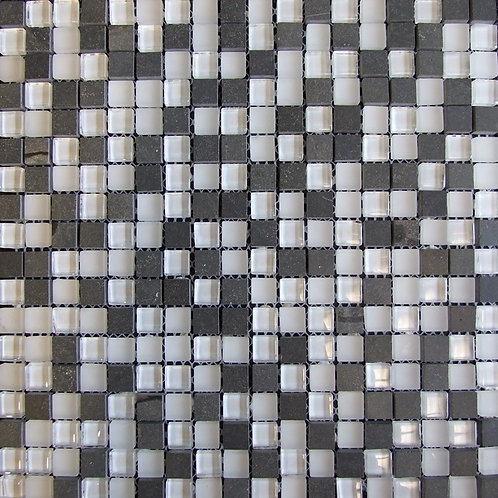 White Basalt Glass Marble Mix Mosaic 15x15mm on a 300x300mm sheet
