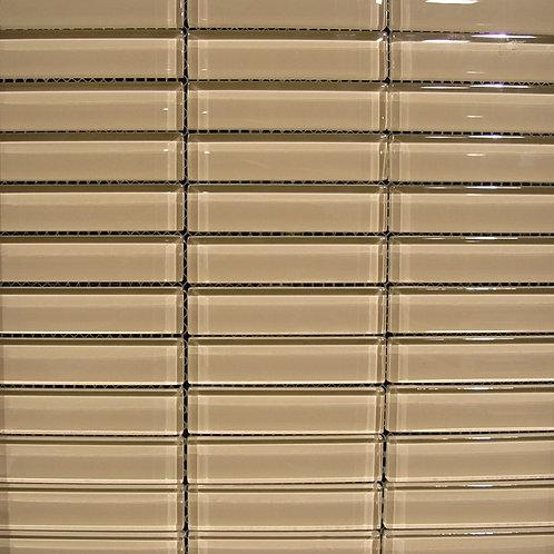 Crystal Beige 8mm Glass Mosaic 23x98mm on a 300x300mm sheet