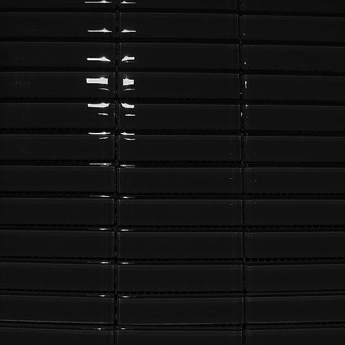 Crystal Black 8mm Glass Mosaic 23x98mm on a 300x300mm sheet