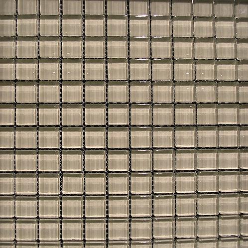 Crystal Cream 8mm Glass Mosaic 23x23mm on a 300x300mm sheet