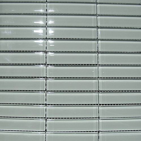 Crystal Greystone 8mm Glass Mosaic 23x98mm on a 300x300mm sheet