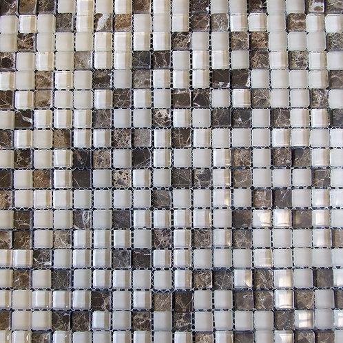 Emperador Cream Glass Marble Mix Mosaic 15x15mm on a 300x300mm sheet