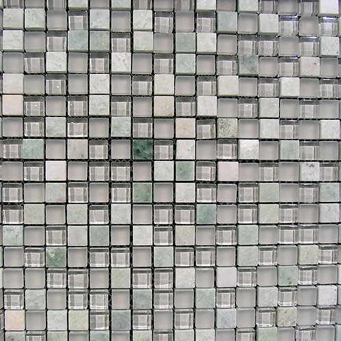 White Greystone Glass Marble Mix Mosaic 15x15mm on a 300x300mm sheet