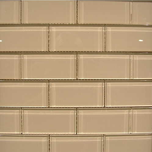 Crystal Beige 8mm Glass Mosaic 48x98mm on a 300x300mm sheet
