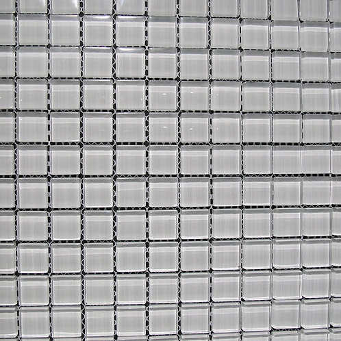 Crystal Shade of White 8mm Glass Mosaic 23x23mm on a 300x300mm sheet