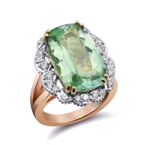 14k tri-tone gold 9.89ct TGW Green Namibian Tourmaline and White Diamond Ring