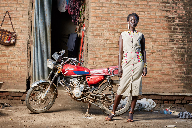 Khaki African Trimmed Dress