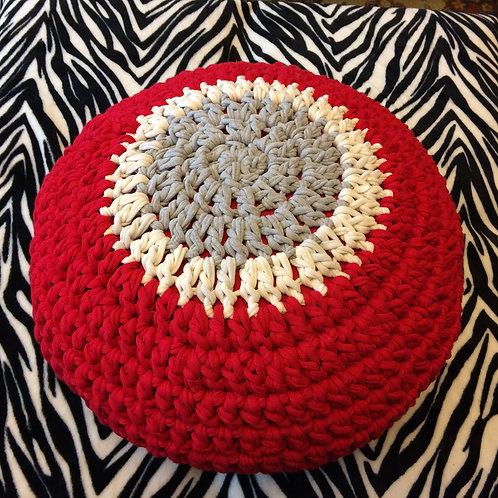 Ohio Buckeye Crochet T Shirt Pouf Gray White Red