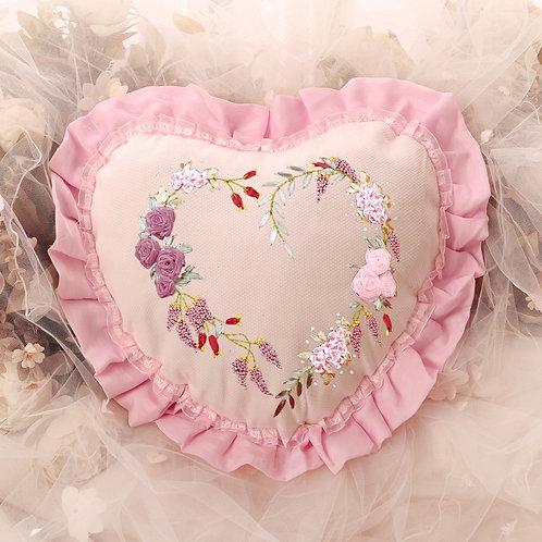 Pink Heart Throw Pillow Case
