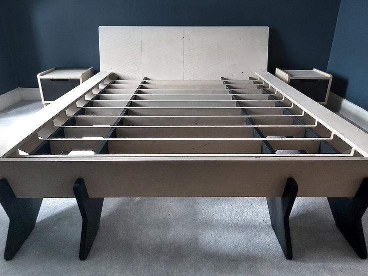 Loki Bed Range, Herringbone engraved Headboard, Birch Plywood & Black Valchromat