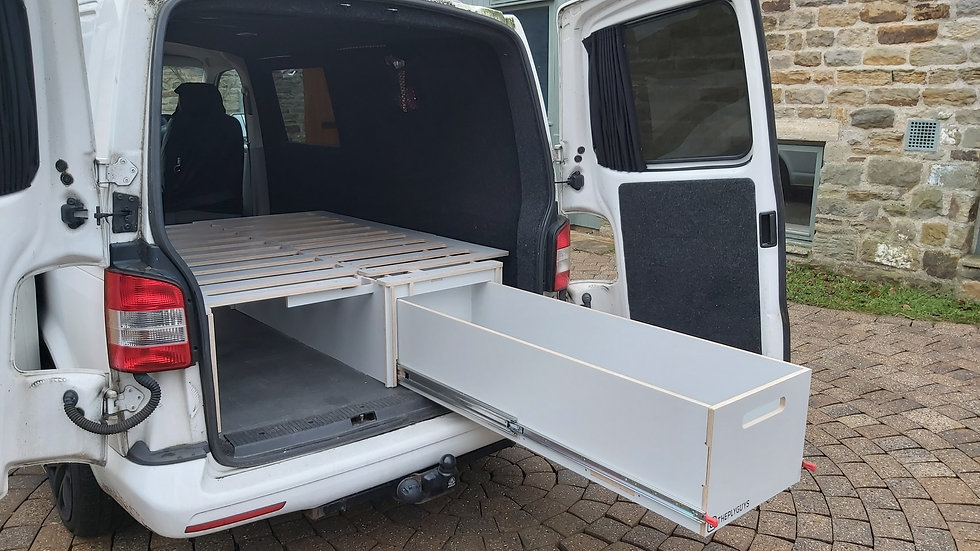 Dunkeld - Pull Out Bench Sofa Bed, L shaped seating, Bed and 250kg 1.5m drawer.
