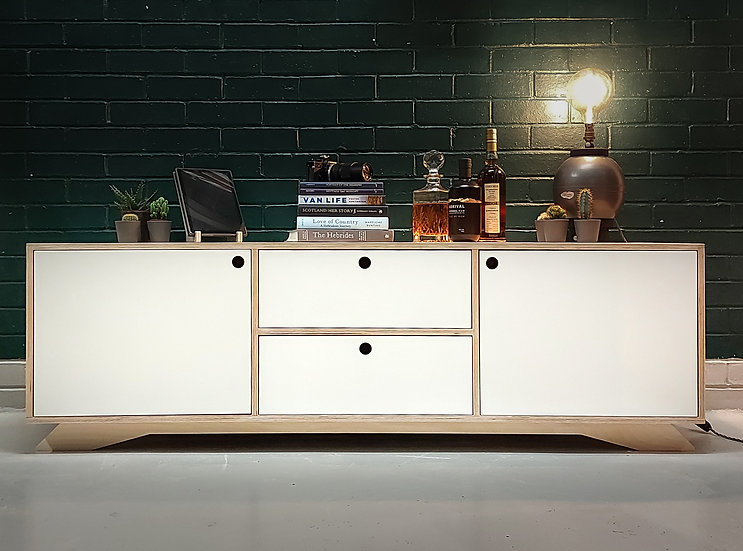 Iosal Fada Low Level Birch Plywood Sideboard With Cupboards and Drawers