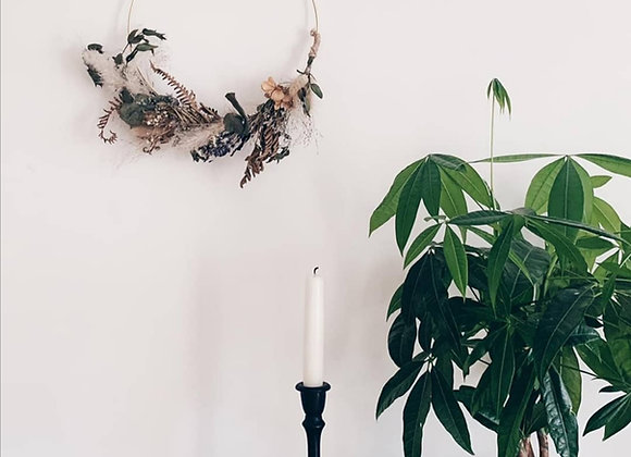 Golden hoop dried flower wreath