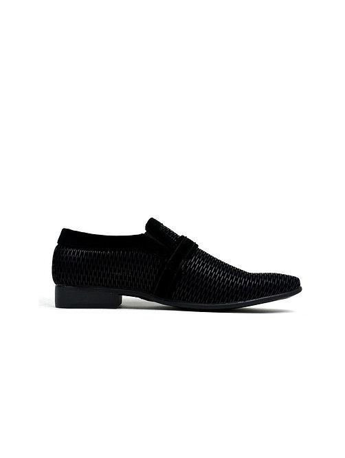 Men's Contrast Buckle Trim Formal Shoes Black/Black